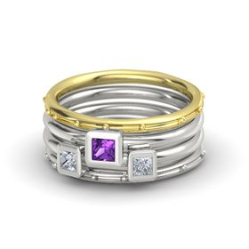 Princess Amethyst 18K Yellow Gold Ring with Diamond