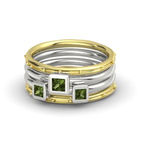 Princess Green Tourmaline 18K Yellow Gold Ring with Green Tourmaline