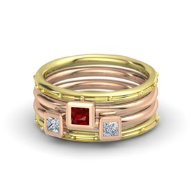 Princess Ruby 18K Yellow Gold Ring with Diamond