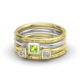 Princess Peridot 18K Yellow Gold Ring with Diamond