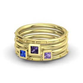 Princess Iolite 18K Yellow Gold Ring with Iolite and Blue Sapphire