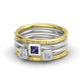 Princess Iolite 18K Yellow Gold Ring with Diamond