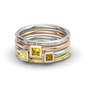 Princess Yellow Sapphire Palladium Ring with Citrine and Yellow Sapphire