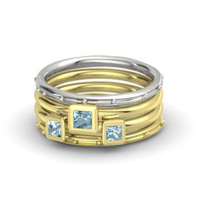 Princess Aquamarine Palladium Ring with Aquamarine