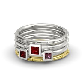 Princess Ruby Palladium Ring with Rhodolite Garnet and Red Garnet