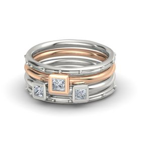 Princess Diamond Palladium Ring with Diamond