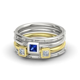 Princess Blue Sapphire Palladium Ring with Diamond