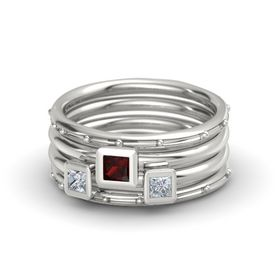Princess Red Garnet Palladium Ring with Diamond