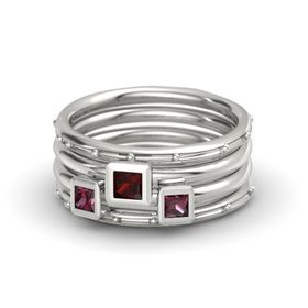 Princess Red Garnet Palladium Ring with Rhodolite Garnet