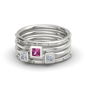 Princess Pink Sapphire Palladium Ring with Diamond