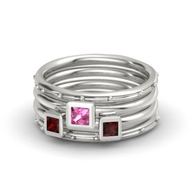 Princess Pink Tourmaline Palladium Ring with Red Garnet