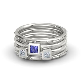 Princess Tanzanite Palladium Ring with Diamond