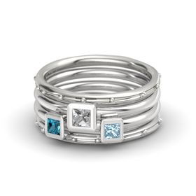 Princess Rock Crystal Palladium Ring with Aquamarine & London Blue Topaz