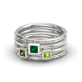 Princess Emerald Platinum Ring with Peridot and Green Tourmaline