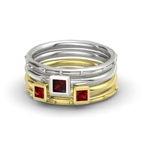 Princess Red Garnet Platinum Ring with Ruby
