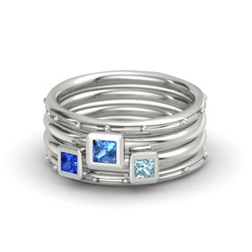Princess Blue Topaz Platinum Ring with Aquamarine and Blue Sapphire