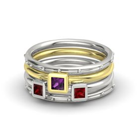 Princess Rhodolite Garnet Platinum Ring with Ruby and Red Garnet