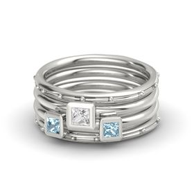 Princess White Sapphire Platinum Ring with Aquamarine