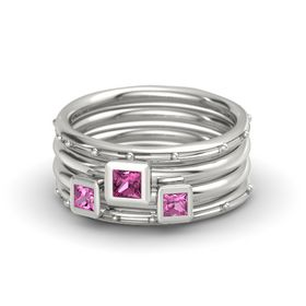 Princess Pink Sapphire Platinum Ring with Pink Sapphire