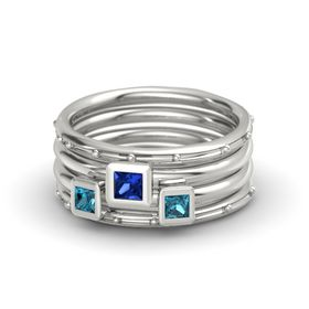 Princess Blue Sapphire Platinum Ring with London Blue Topaz