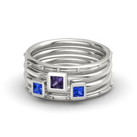 Princess Iolite Platinum Ring with Sapphire