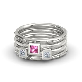 Princess Pink Tourmaline Platinum Ring with Diamond