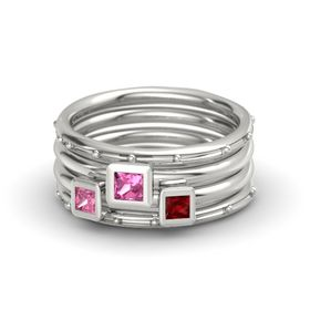 Princess Pink Tourmaline Platinum Ring with Ruby and Pink Tourmaline
