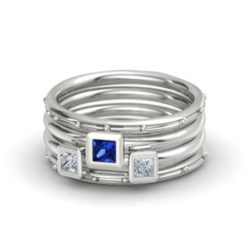 Princess Blue Sapphire Platinum Ring with Diamond