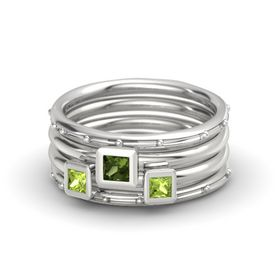 Princess Green Tourmaline Sterling Silver Ring with Peridot