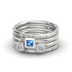 Princess Blue Topaz Sterling Silver Ring with Diamond