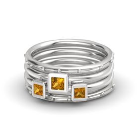 Princess Citrine Sterling Silver Ring with Citrine