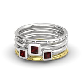 Princess Red Garnet Sterling Silver Ring with Red Garnet
