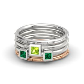 Princess Peridot Sterling Silver Ring with Emerald