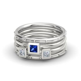 Princess Blue Sapphire Sterling Silver Ring with Diamond