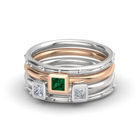 Princess Emerald Sterling Silver Ring with Diamond