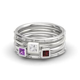Princess White Sapphire Sterling Silver Ring with Red Garnet and Amethyst