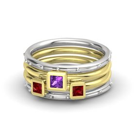 Princess Amethyst Sterling Silver Ring with Ruby