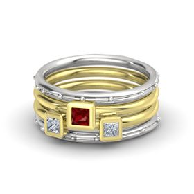 Princess Ruby Sterling Silver Ring with Diamond