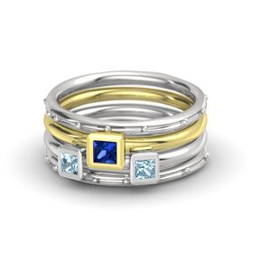 Princess Blue Sapphire Sterling Silver Ring with Aquamarine
