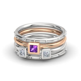 Princess Amethyst Sterling Silver Ring with Diamond