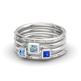 Princess Aquamarine Sterling Silver Ring with Blue Sapphire and Blue Topaz