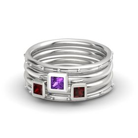 Princess Amethyst Sterling Silver Ring with Red Garnet