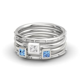 Princess White Sapphire Sterling Silver Ring with Blue Topaz