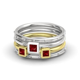 Princess Ruby Sterling Silver Ring with Ruby