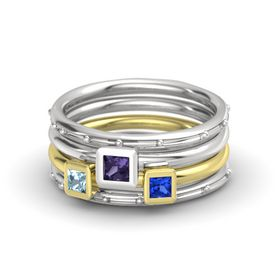 Princess Iolite Sterling Silver Ring with Sapphire & Aquamarine