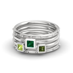 Princess Emerald Sterling Silver Ring with Green Tourmaline & Peridot