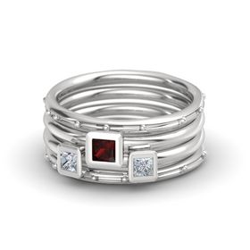 Princess Red Garnet Sterling Silver Ring with Diamond