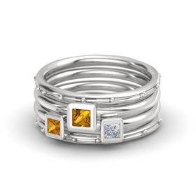 Princess Citrine Sterling Silver Ring with Diamond and Citrine