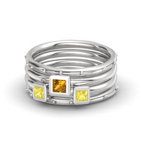 Princess Citrine Sterling Silver Ring with Yellow Sapphire