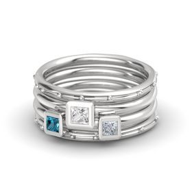 Princess White Sapphire Sterling Silver Ring with Diamond and London Blue Topaz
